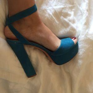 Schutz platform high heels turquoise/blue size 9.